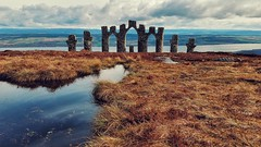 Fyrish Monument (Mark.L.Sutherland) Tags: cameraphone sky sculpture water grass architecture clouds landscape puddle scotland highlands view gates north cellphone samsung smartphone sutherland highup eastcoast cromartyfirth scottishlandscape fyrish phoneography fyrishmonument androidography galaxys5