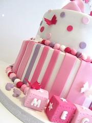 PinkBS (ommnom) Tags: pink stars butterflies christening girlie bows babyblocks namingday christeningcake