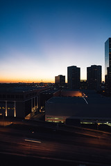 view from greenway (almostsummersky) Tags: road city travel windows sunset urban buildings lights hotel us spring texas view unitedstates sundown parkinggarage dusk horizon hilton houston bluehour doubletree lanes greenwayplaza