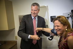 Mayor Bill de Blasio and City Council Speaker Melissa Mark-Viverit attend the grand opening of the Damian Family Care Center in the Bronx (nycmayorsoffice) Tags: usa ny newyork bronx health healthcare
