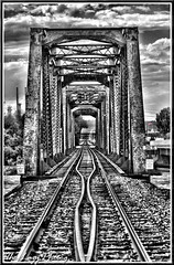July 2011 - BNSF railroad over Yellowstone River at Laurel Mont (lazy_photog) Tags: railroad bridge color river photography montana rocks lazy yellowstone wyoming rim laurel elliott selective photog worland