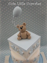 Christening Cake (Cute Little Cupcakes / Heidi Stone) Tags: christeningcake boyschristeningcake teddybearchristeningcake