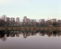 Katowice, Poland. (wojszyca) Tags: city urban reflection 120 mamiya skyline mediumformat kodak modernism shift poland housing socialist epson 6x7 katowice portra towerblock gossen 160 rz67 75mm 4990 lunaprosbc tysiclecie