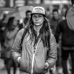 Tough Chick (nagajohn) Tags: people blackandwhite streets holland netherlands monochrome amsterdam photography nikon fotografie outdoor candid nederland streetphotography streetlife streetscene moment mokum beautifulpeople onthestreet rokin amsterdammers straten straatfotografie opstraat mooiemensen straatfotograaf d5200 nagajohn johnkwee
