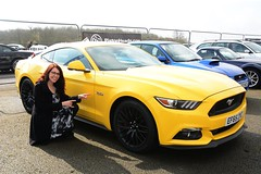 Carmen & Yellow Mustang (Fast an' Bulbous) Tags: santa woman hot sexy ford girl smile car hair glasses yummy pod automobile long dress boots muscle mature vehicle 40 mustang brunette mummy 50 cougar milf v8 pistonheads