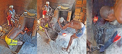 Togo, Kabiye tribe family work, shaping out a shovel blade by stone pounding of calcined metal #Tg (bilwander) Tags: travel african mount solo westafrica togo tribe bilwander kabiye kaybe tg