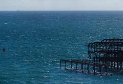 Rampion Windfarm - First Few Base Support Pillars + West Pier (Dominic's pics) Tags: west pier construction support brighton wind hove horizon pillars derelict base turbine windfarm rampion