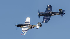 Classics -- F4U and P51 (4myrrh1) Tags: classic canon airplane virginia fighter aircraft aviation wwii airplanes airshow va corsair mustang ww1 hampton propeller langley prop afb p51 6d f4u ef70300l