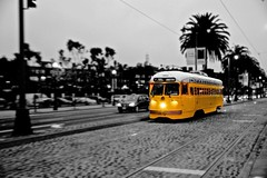 Road Train in San Francisco Mono Colour (philbase) Tags: sanfrancisco california usa pier tram line f sanfranciscobay roadtrain fline oaklandbaybridge greatphotographers