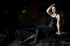 Jillian - 1 (FightGuy Photography) Tags: boots tanktop corset jillian curlyhair blackclothes speedlite strobist fightguyphotography