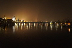 Charles Bridge, Prague, Night (Steve Harrison Photographic) Tags: bridge night river boats lights prague czechrepublic nightsky charlesbridge rivervltava karlsbridge sonyalpha sonyalphaa37 sonyalpha37