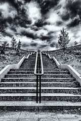 Moody Steps Mono (robinta) Tags: sky urban blackandwhite white black texture monochrome architecture clouds contrast mono blackwhite key moody pentax outdoor low steps perspective tamron ks1 18250 tamron18250mm