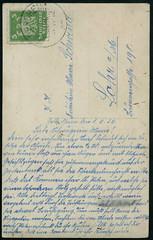 Archiv E168 Storchennestkarte (back), Geldesheim vom 1. Juni 1926 (Hans-Michael Tappen) Tags: 1920s stamps postcard 1926 postkarte handschrift ansichtskarte briefmarke 1920er briefstempel gelderheim archivhansmichaeltappen