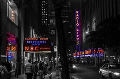 Manhattan Mondays (itsonlykotsy) Tags: city nyc newyorkcity urban blackandwhite usa newyork monochrome america nbc neon cityscape manhattan unitedstatesofamerica citylife rockefellercenter midtown northamerica radiocitymusichall bigapple rainbowroom