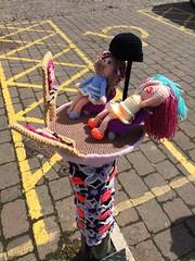 At The Salon (Munki Munki) Tags: streetart wool knitting crochet mirrors hairsalon bollard thirsk hairdryer 1stmay nyorks yarnbombing tourdeyorkshire