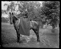 Victorian photograph of a woman riding a horse in Fallston, Maryland. (Remsberg Photos) Tags: blackandwhite horse usa fashion yard vintage antique maryland historic gloves scanned rider equestrian sporty ridingcrop horsebackrider glassplate fallston vintagefashion womensfashion harfordmd