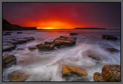 Fire on The Horizon (Jo Langtry) Tags: ocean beach sunrise rocks nsw woolongong 2016 hill60 canon1740mmf4 sonya7r may2016