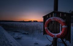 life buoy (Jyrki Salmi) Tags: winter sunset snow ice finland pier nikon nikkor lifebuoy jyrki kotka d600 1635mm salmi ruonala