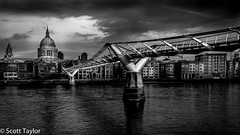St Paul's and the Millenium Bridge (Scrufftie) Tags: bridge england sky blackandwhite bw london monochrome canon river cityscape unitedkingdom gb milleniumbridge handheld stpaulscathedral riverthames southwark lightroom canonef35mmf2isusm photoshopcc canon5dsr