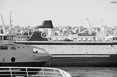 38 (kana movana) Tags: city travel sea bw ferry port harbor seaside ship athens greece cruiser piraeus