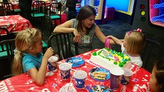 At Maddie's Birthday Party (Joe Shlabotnik) Tags: cameraphone violet madeleine chuckecheeses sarahp 2015 june2015 galaxys5