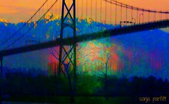 through the bridge (Sonja Parfitt) Tags: mountains manipulated painted layered