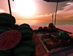 Tropical sundown (alidamor.anatra) Tags: sea summer sun beach sand sundown market dreaming sl secondlife tropical melons sim chill maledives