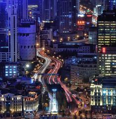 Towards Yan'An Elevated Road (Rebecca Ang) Tags: china lighting city urban architecture lights highway cityscape shanghai lighttrails bund puxi waitan rebeccaang yananelevatedroad no1onthebund