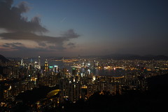 Going dark~ (edward.cheung) Tags: city blue sunset sky hk cloud building nightview  magichour sjy victoriaharbor  a6000