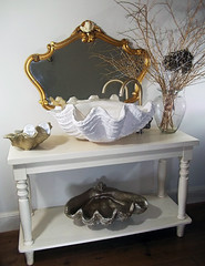 Gold Sink 1 (LittleGems AR) Tags: ocean sea sculpture sun beach home statue stone giant bathroom shower gold aquarium soap sand bath crystals hand contemporary unique decorative shell craft style toilet towel clam basin special clean shampoo taps wash ornament gift present pearl reef spa figures gems opulent gem fossils oneoff clamshell mollusks cloakroom bespoke personalised tridacna sculpt crafted gigas facetowel