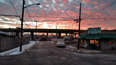 Mullin's Diner at Sunset, North Side, Pittsburgh, January 14, 2016 (real00) Tags: road city bridge sky urban clouds landscape restaurant pittsburgh pennsylvania streetscene northside intersection urbanlandscape rustbelt westernpennsylvania 2000s 2016 alleghenycounty 2010s pittsburghregion willreal williamreal