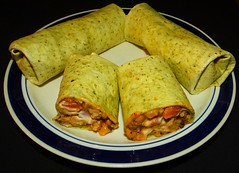 Black Eye Peas & Smoky Pork Burritos (ezigarlick) Tags: food beans tomatoes manitoba onions pork garlic smoky hotsauce homecooking cilantro tortilla burritos spinach sourcream blackeyepeas cheddarcheese
