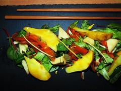 Lune, triangoli, miele (Massimo Gerardi) Tags: black green apple triangles cuisine lemon noir colours honey vegetarian chopstick veg pere insalata miele salade culinary mostarda bacchette birnen poires ardesia dreiecken bletcolorfull