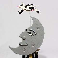 The Cow Jumped Over the Moon - Escapement Sculpture (JK Brickworks) Tags: moon cow lego nursery gravity mechanism rhyme escapement