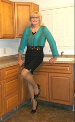 Black Skirt (bobbievnc) Tags: hair pumps highheels longhair skirt blouse tgirl blonde heels blondehair pantyhose crossdresser shortskirt blackskirt tightskirt tanpantyhose pantyhoselegs