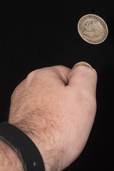 Heads or Tails (Evoljo) Tags: money coin nikon hand heads toss thumb 365 flick 366 d7100 halfacrown