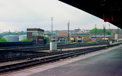 Bristol, Temple Meads station (6), 1993 (Blue-pelican-railway) Tags: film station bristol railway templemeads signalbox