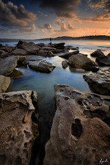 Fisherman at the ocean (FPL_2015) Tags: ocean sunset seascape water landscape rocks sydney australia northernbeaches northcurlcurl leefilter canon6d gnd09 canon1635f4lis