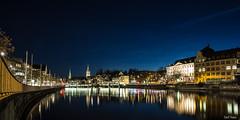 Zurich by Night (SteffPicture) Tags: auto street longexposure night canon eos lights wasser outdoor zurich himmel stadt architektur nightshots brcke gebude lichter infrastruktur zri langzeitbelichtung limmat zurichbynight limmatquai blauestunde 5d3 steffpicture gebudestruktur