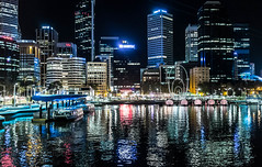 Elizabeth Quay (Aestheticshots) Tags: city water beautiful night river landscape lights boat cityscape colours australia sharp perth wa fujifilm highiso refletions perthcity elizabethquay perthlife x100s fujifilmx100s