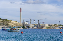 Industrial (Preston Ashton) Tags: ocean blue sea chimney sky industry water sunshine clouds boat industrial waves ship sunny malta shore sail