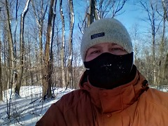 Self-portrait at -18ºC (pmvarsa) Tags: selfportrait portrait winter snow ice mask hat skiing crosscountry morraine waterloo ontario canada regionofwaterloo trees february 2016 cellphone blackberry passport spc