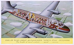 """Trans-Canada Air Lines, """"North Star"""" Skyliner (SwellMap) Tags: architecture plane vintage advertising design pc airport 60s fifties aviation postcard jet suburbia style kitsch retro nostalgia chrome americana 50s roadside googie populuxe sixties babyboomer consumer coldwar midcentury spaceage jetset jetage atomicage"""