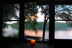 TLC2015 (katie perkins :]) Tags: trees windows light sunset red sky orange mountain lake ny newyork mountains reflection window nature water rural landscape candle upstate adirondacks candlelight troutlake candlelit adirondackmountains diamondpoint