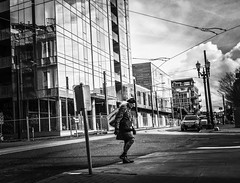 From New Town to Old Town (TMimages PDX) Tags: road street city people urban blackandwhite monochrome buildings portland geotagged photography photo image streetphotography streetscene sidewalk photograph pedestrians pacificnorthwest avenue vignette fineartphotography iphoneography