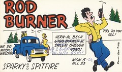 Runnin Bare #0108: Rod Burner - Molalla, Oregon (73sand88s by Cardboard America) Tags: runninbare qsl cbradio cb vintage qslcard man woman truck radio molalla oregon