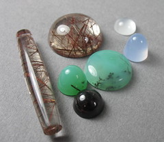 cabs 3-25-16 (stone temple lapidary) Tags: blue quartz lapidary garnet rutilated dendrites chalcedony cabochons chrysoprase
