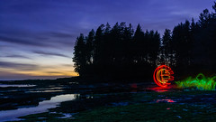 cracked (~138~) Tags: light white canada lightpainting abstract black colour green art beach water colors night ball dark botanical lights cool nightlights colours bc purple vancouverisland sphere dome paintingwithlight streaks lightart 138 botanicalbeach lightpaint bcbeach singleexposure