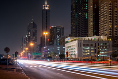 Downtown Dubai night traffic (Storkholm Photography) Tags: city longexposure nightphotography urban skyline night skyscraper buildings dark landscape nikon downtown dubai nightlights traffic uae streetphotography d750 20mm metropolitan traffictrails architecturewideangle fixedlense unitedarabemirate