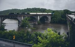 Westbound at Mount Union (benpsut) Tags: railroad bridge us gloomy unitedstates pennsylvania ns trains norfolksouthern archbridge intermodal stonearchbridge mountunion nspittsburghline ns9679 ns9649